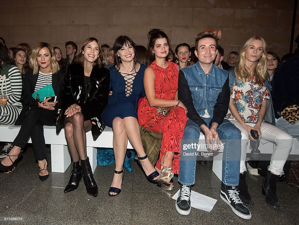 Caroline Flack, Alexa Chung, Daisy Lowe, Pixie Geldof, Nick Grimshaw and Mary Charteris attend the House of Holland show during London Fashion Week Autumn/Winter 2016/17 at TopShop Show Space on February 20, 2016 in London, England.