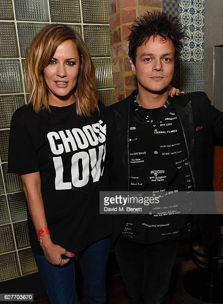 Caroline Flack and Jamie Cullum attend the launch of Help Refugees' 'Choose Love' winter appeal with Jamie Cullum and friends at The Jazz Cafe on...
