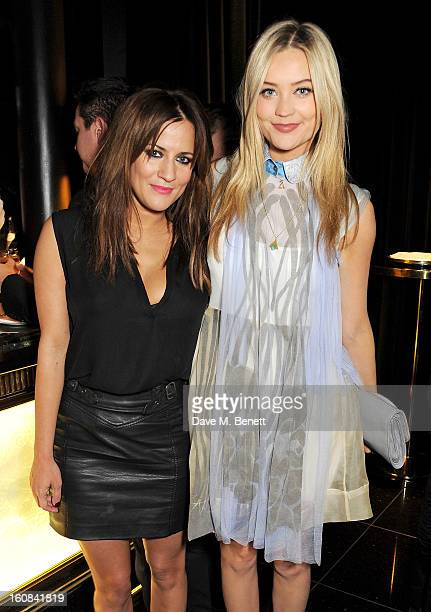 Caroline Flack and Laura Whitmore attend the PreBAFTA Party hosted by EE and Esquire ahead of the 2013 EE British Academy Film Awards at The Savoy...
