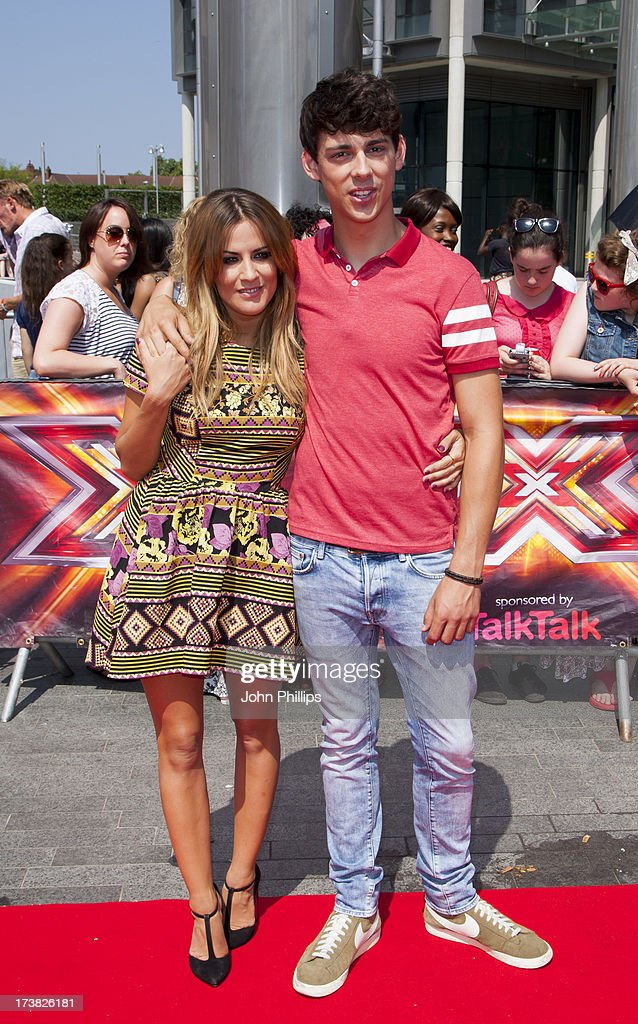 Caroline Flack and Matt Richardson arrive for the last day of the London auditions of The X Factor at Wembley Arena on July 18, 2013 in London, England.