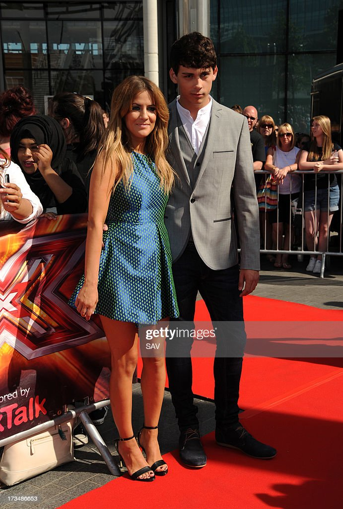 Caroline Flack and Matt Richardson pictured arriving at Wembley Arena for the X Factor auditions on July 15, 2013 in London, England.
