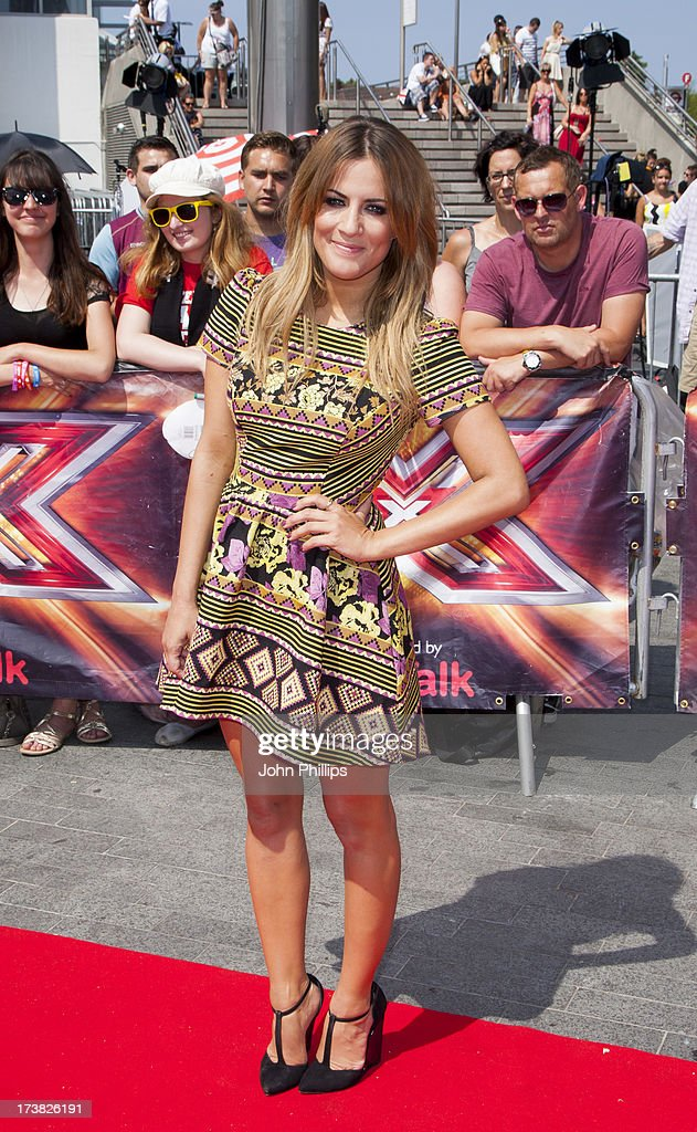 Caroline Flack arrives for the last day of the London auditions of The X Factor at Wembley Arena on July 18, 2013 in London, England.