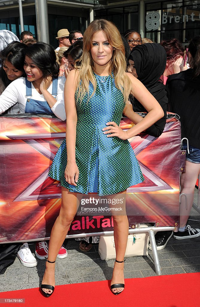 Caroline Flack arrives for the London auditions of The X Factor at Wembley Arena on July 15, 2013 in London, England.