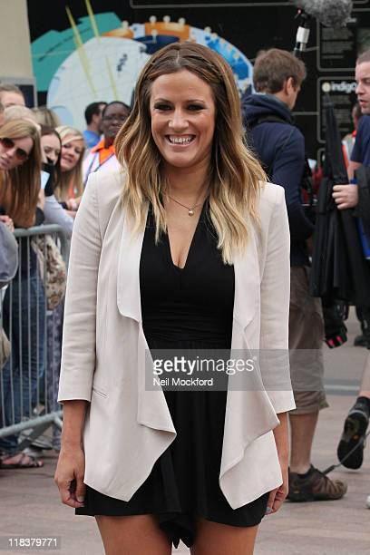 Caroline Flack arrives for the London regional auditions of the X Factor at 02 Arena on July 7 2011 in London England