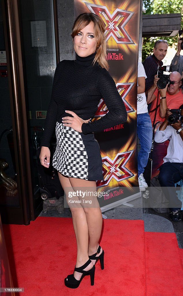 <a gi-track='captionPersonalityLinkClicked' href=/galleries/search?phrase=Caroline+Flack&family=editorial&specificpeople=4344399 ng-click='$event.stopPropagation()'>Caroline Flack</a> arrives for the X-Factor Press Launch held at The Mayfair Hotel on August 29, 2013 in London, England.
