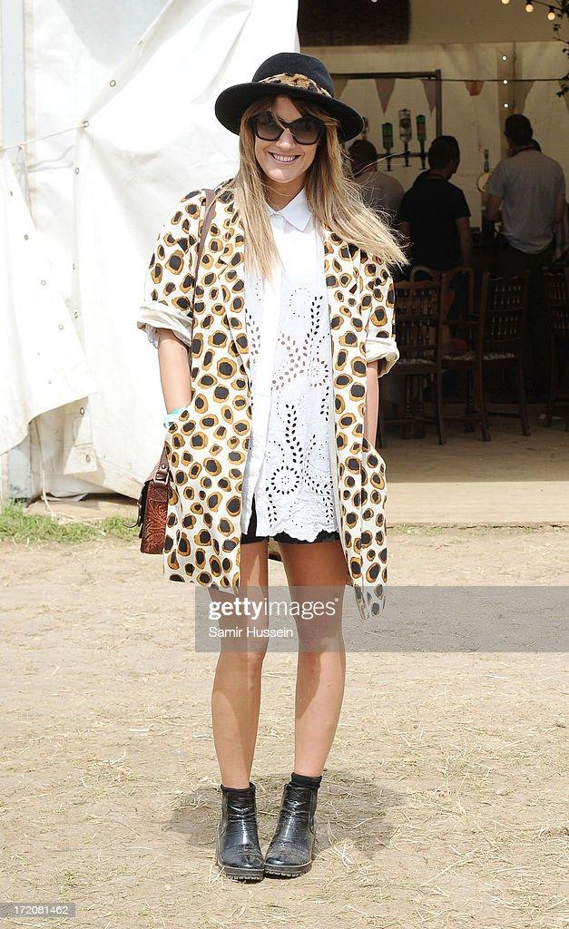 Caroline Flack attends the Glastonbury Festival of Contemporary Performing Arts at Worthy Farm, Pilton on June 30, 2013 in Glastonbury, England.