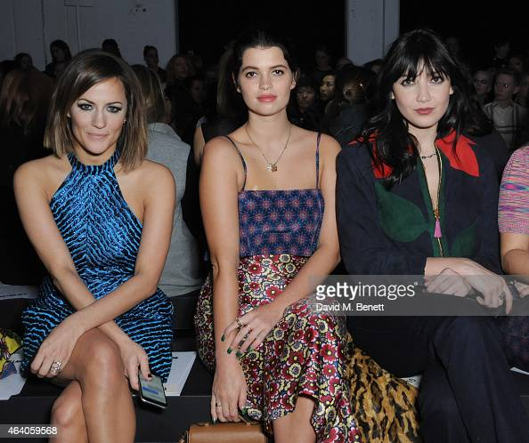 Caroline Flack Pixie Geldof and Daisy Lowe attend the House of Holland show during London Fashion Week Fall/Winter 2015/16 at University of...