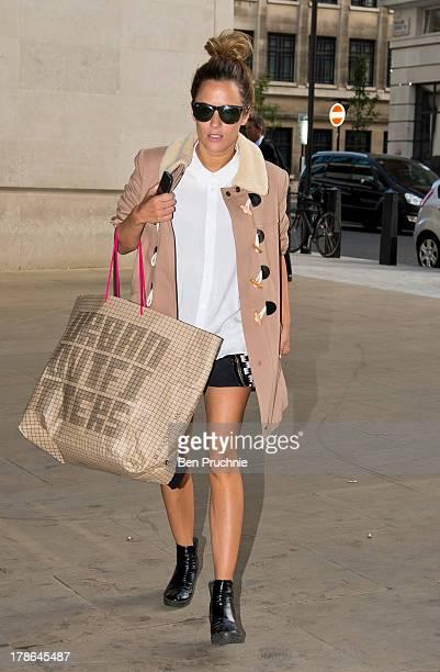 Caroline Flack sighted at BBC Radio studios on August 30 2013 in London England