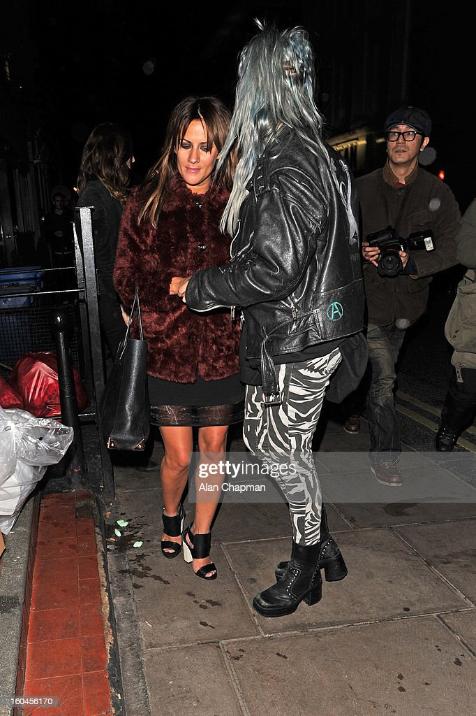 <a gi-track='captionPersonalityLinkClicked' href=/galleries/search?phrase=Caroline+Flack&family=editorial&specificpeople=4344399 ng-click='$event.stopPropagation()'>Caroline Flack</a> (Left) sighting at the Groucho Club on January 31, 2013 in London, England.