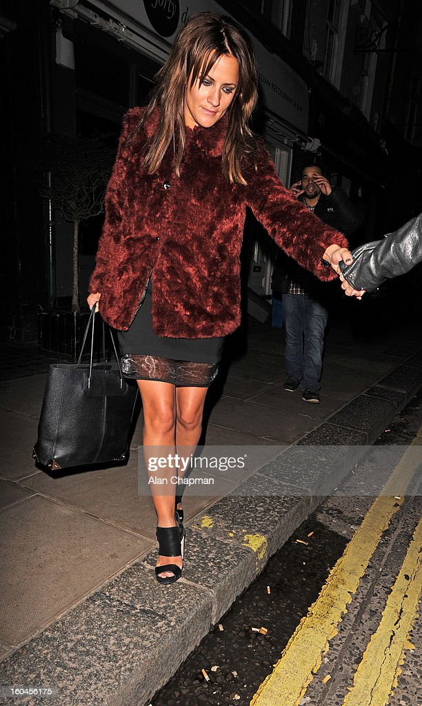 <a gi-track='captionPersonalityLinkClicked' href=/galleries/search?phrase=Caroline+Flack&family=editorial&specificpeople=4344399 ng-click='$event.stopPropagation()'>Caroline Flack</a> sighting at the Groucho Club on January 31, 2013 in London, England.