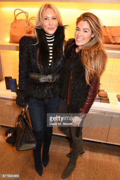Caroline Fleming and Sophie Stanbury attend a private view of Smythson and The Queen Elizabeth Scholarship Trust's exhibition 'Crafted For Life' as...