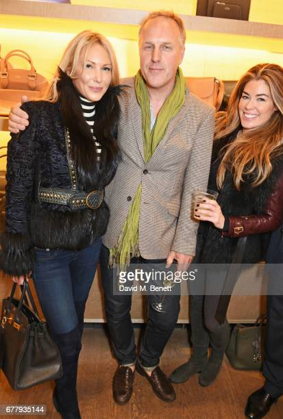 Caroline Fleming Simon Mills and Sophie Stanbury attend a private view of Smythson and The Queen Elizabeth Scholarship Trust's exhibition 'Crafted...