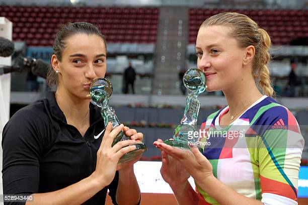 Caroline Garcia and Kristina Mladenovic of France celebrates in the doubles final during day eight of the Mutua Madrid Open tennis tournament at the...