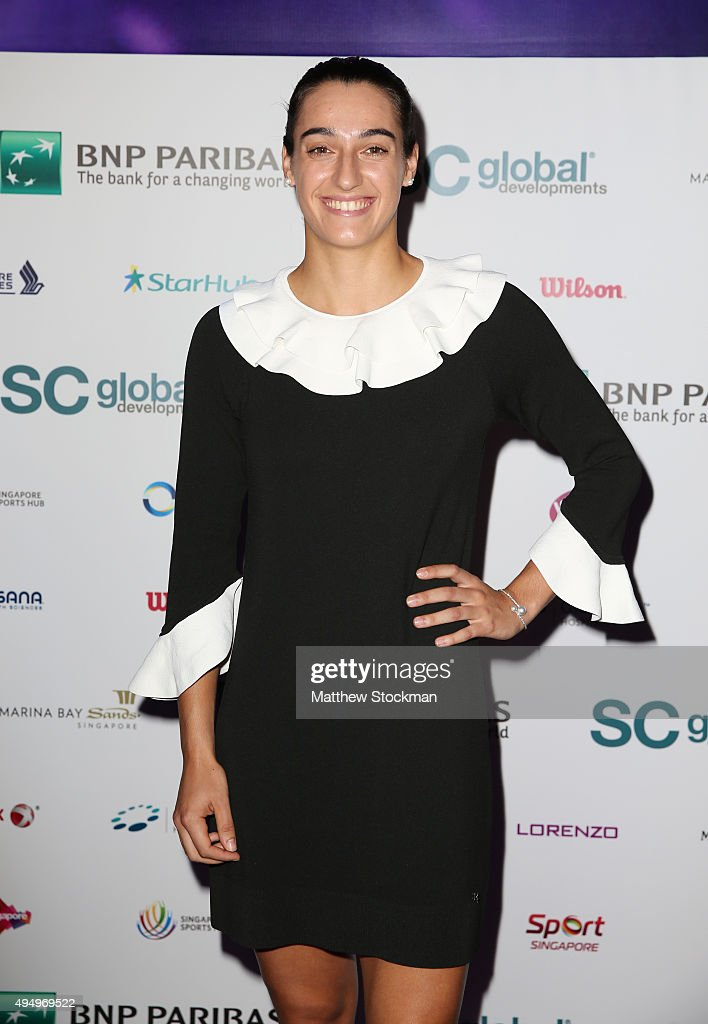 <a gi-track='captionPersonalityLinkClicked' href=/galleries/search?phrase=Caroline+Garcia&family=editorial&specificpeople=6605758 ng-click='$event.stopPropagation()'>Caroline Garcia</a> attends Singapore Tennis Evening during BNP Paribas WTA Finals at Marina Bay Sands on October 30, 2015 in Singapore.