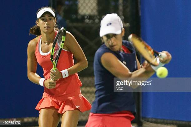 Caroline Garcia of France and Katarina Srebotnik of Slovenia compete against Monica Niculescu and IrinaCamelia Begu of Romania in Women's Doubles...