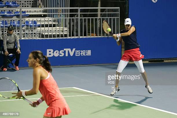 Caroline Garcia of France and Katarina Srebotnik of Slovenia compete against Monica Niculescu and IrinaCamelia Begu of Romania in Women's Doubles...