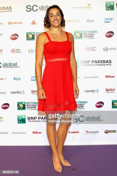 Caroline Garcia of France arrives for the Official Draw Ceremony and Gala of the BNP Paribas WTA Finals Singapore presented by SC Global at Marina...