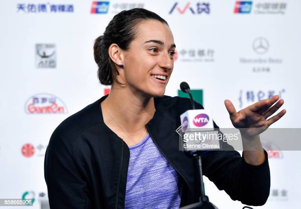 Caroline Garcia of France attends a press conference after her victory against Petra Kvitova of the Czech Republic on day eight of the 2017 China...