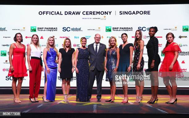 Caroline Garcia of France Caroline Wozniacki of Denmark Elina Svitolina of Ukraine Simona Halep of Romania Melissa Pine WTA Finals Tournament...