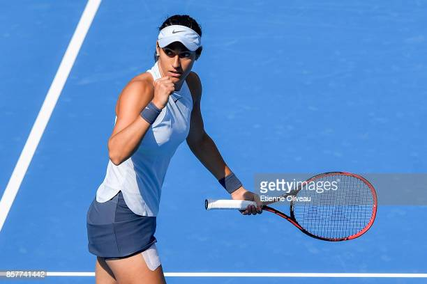 Caroline Garcia of France celebrates a point during her Women's singles third round match against Alize Cornet of France on day six of the 2017 China...