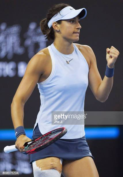 Caroline Garcia of France celebrates a point during the Women's singles Quarterfinals match against Elina Svitolina of Ukraine on day seven of 2017...
