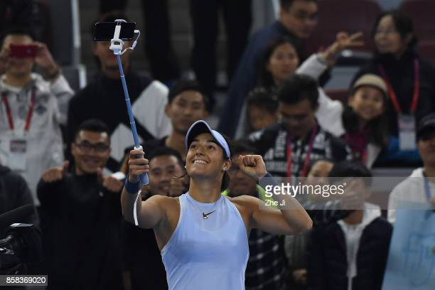 Caroline Garcia of France celebrates her victory over Elina Svitolina of Ukraine during the Women's singles Quarterfinals match on day seven of 2017...