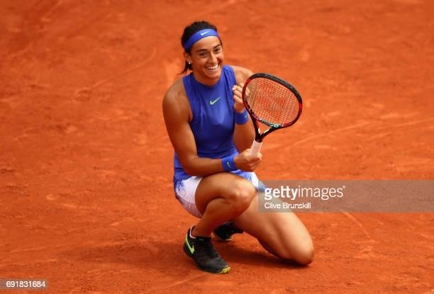 Caroline Garcia of France celebrates victory in the ladies singles third round match against SuWei Hsieh of Taipei on day seven of the 2017 French...
