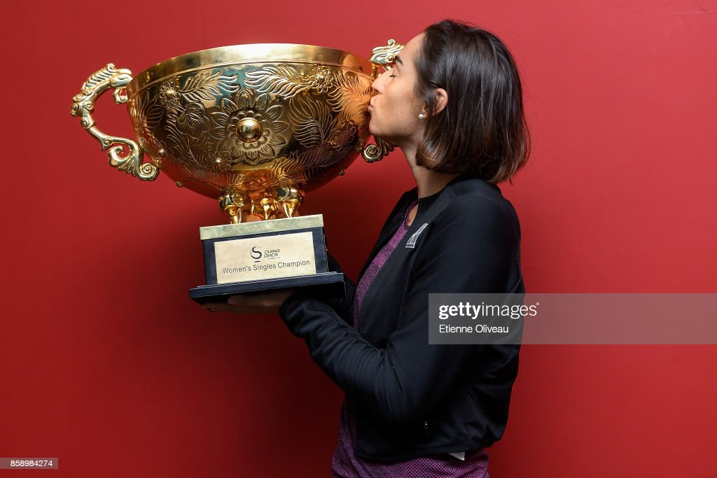 Caroline Garcia of France holds the winner's trophy after winning the Women's Singles final against Simona Halep of Romania on day nine of the 2017 China Open at the China National Tennis Centre on October 8, 2017 in Beijing, China.