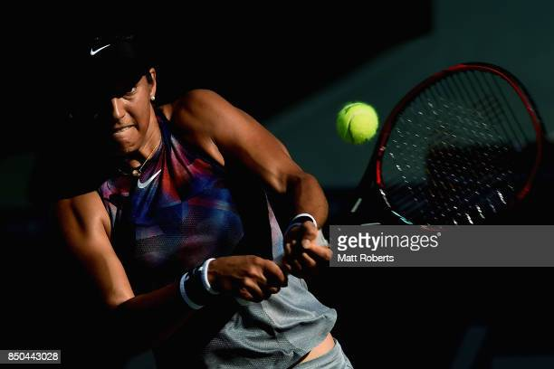 Caroline Garcia of France plays a backhand against Kurumi Nara of Japan during day four of the Toray Pan Pacific Open Tennis At Ariake Coliseum on...