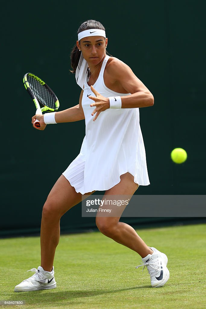 <a gi-track='captionPersonalityLinkClicked' href=/galleries/search?phrase=Caroline+Garcia&family=editorial&specificpeople=6605758 ng-click='$event.stopPropagation()'>Caroline Garcia</a> of France plays a forehand during the Ladies Singles first round match against Cagla Buyukakcay of Turkey on day two of the Wimbledon Lawn Tennis Championships at the All England Lawn Tennis and Croquet Club on June 28, 2016 in London, England.