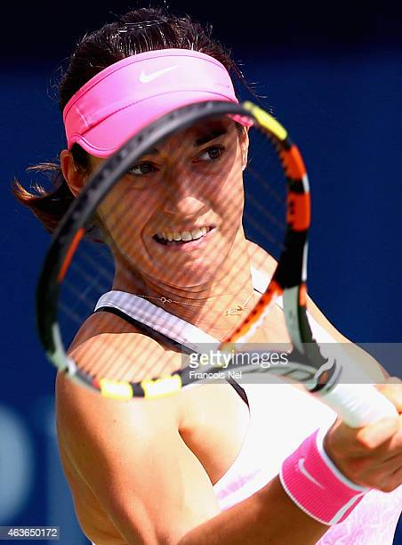 Caroline Garcia of France plays a forehand in her march against Agnieszka Radwanska of Poland during day three of the WTA Dubai Duty Free Tennis...
