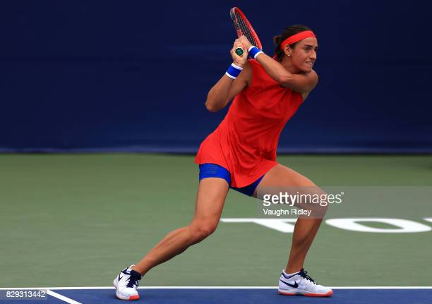 Caroline Garcia of France plays a shot against Catherine Bellis of the United States during Day 6 of the Rogers Cup at Aviva Centre on August 10 2017...