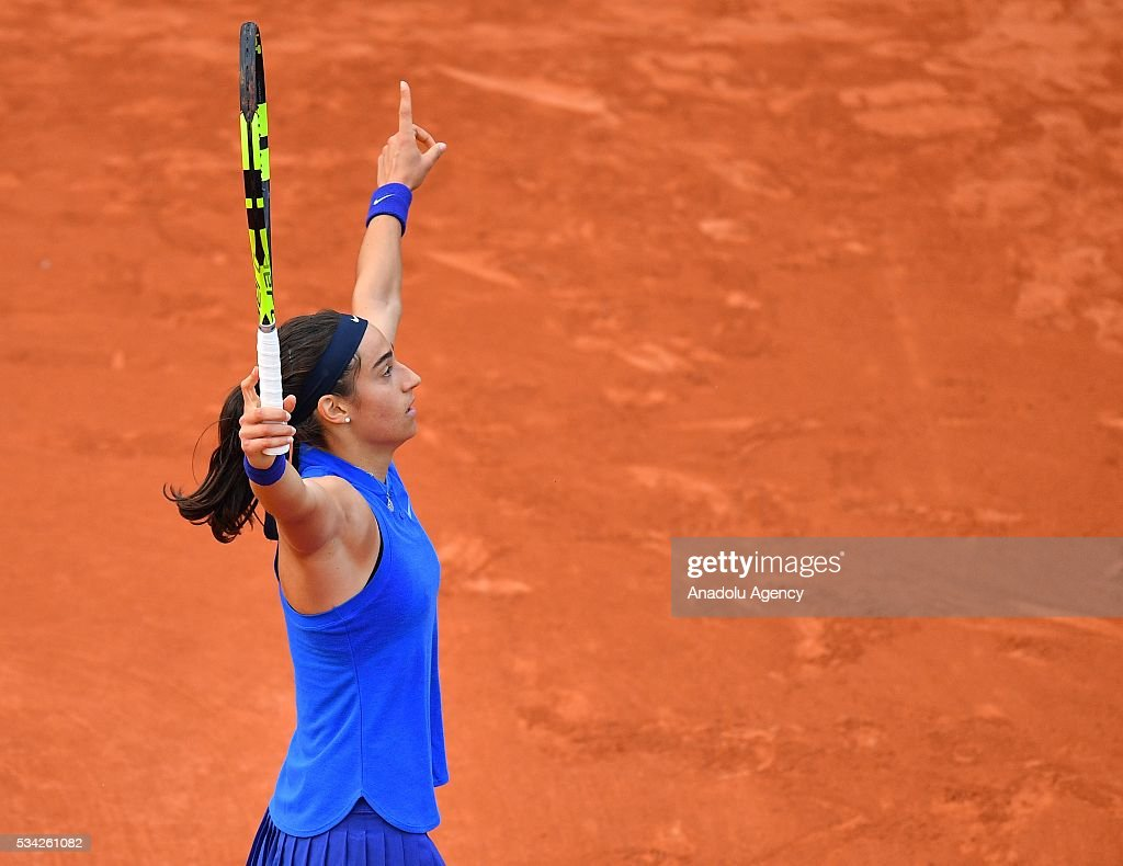 Caroline Garcia of France reacts during the match against Agnieszka Radwanska (not seen) of Poland in their women's single second round at the French Open tennis tournament at Roland Garros in Paris, France on May 25, 2016.