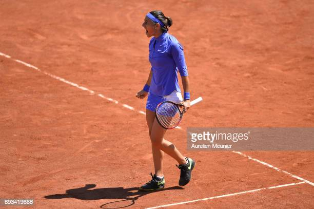 Caroline Garcia of France reacts during the women's singles quarterfinal match against Karolina Pliskova of Czech Republic on day eleven of the 2017...