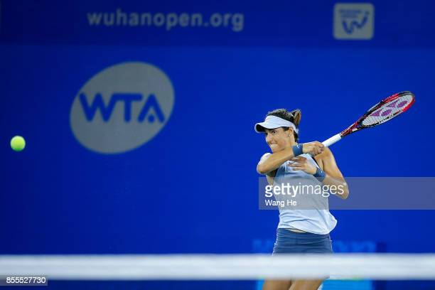 Caroline Garcia of France returns a shot during the match against Maria Sakkari of Greece on Day 6 of 2017 Dongfeng Motor Wuhan Open at Optics Valley...