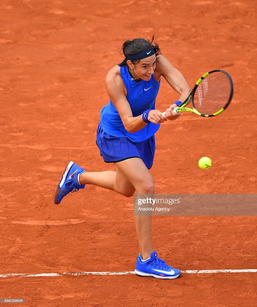 Caroline Garcia of France returns to Agnieszka Radwanska (not seen) of Poland during their women's single second round at the French Open tennis tournament at Roland Garros in Paris, France on May 25, 2016.