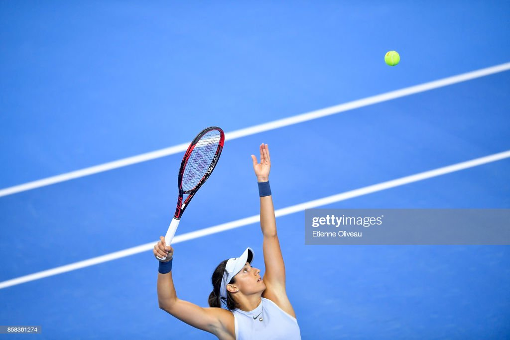 Caroline Garcia of France serves against Elina Svitolina of Ukraine during their Women's singles Quarterfinal match on day seven of 2017 China Open at the China National Tennis Centre on October 6, 2017 in Beijing, China.