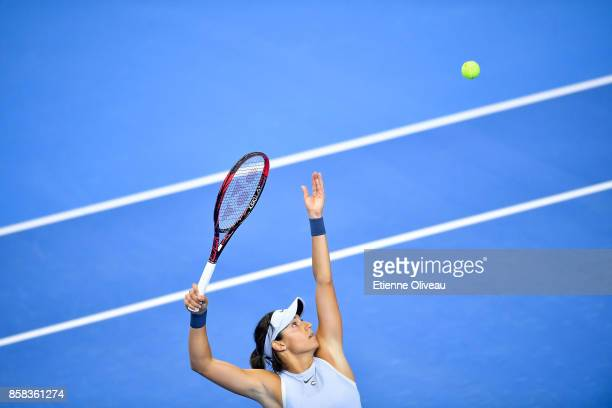 Caroline Garcia of France serves against Elina Svitolina of Ukraine during their Women's singles Quarterfinal match on day seven of 2017 China Open...