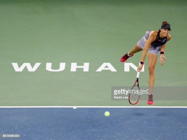 Caroline Garcia of France serves to Dominika Cibulkova of Slovakia at round 3 of Women's Single of 2017 Wuhan Open during Day 4 on September 27 2017...
