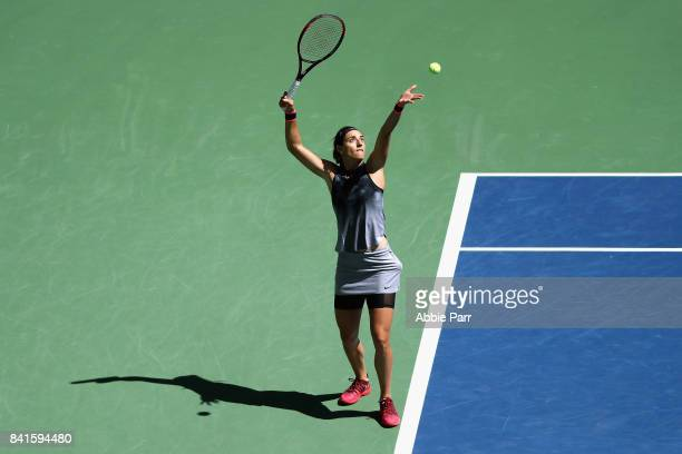 Caroline Garcia of France serves to Petra Kvitova of the Czech Republic during their third round match on Day Five of the 2017 US Open at the USTA...