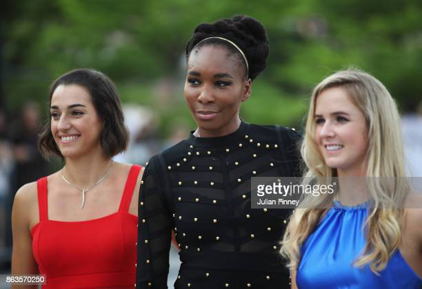 Caroline Garcia of France Venus Williams of the United States and Elina Svitolina of Ukraine pose prior to the BNP Paribas WTA Finals Singapore...