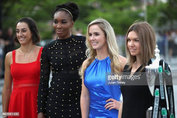 Caroline Garcia of France Venus Williams of the United States Elina Svitolina of Ukraine and Simona Halep of Romania pose prior to the BNP Paribas...