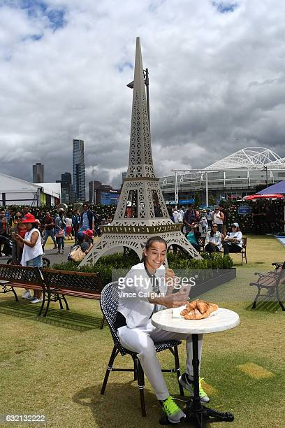 Caroline Garcia of France visits the Paris Quarter on Grand Slam Oval during day five of the 2017 Australian Open at Melbourne Park on January 20...