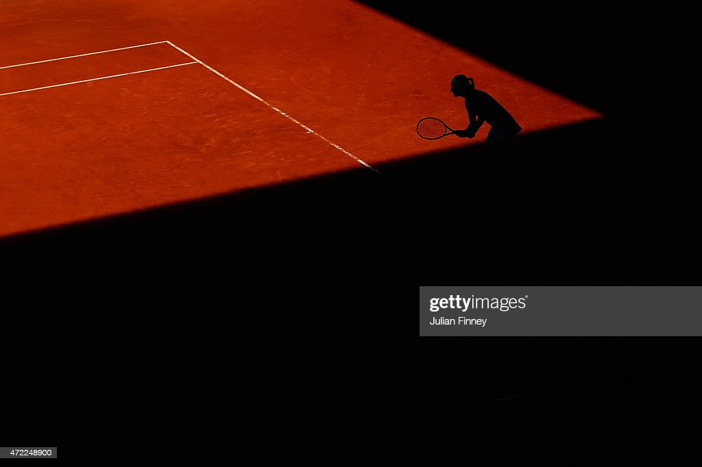 <a gi-track='captionPersonalityLinkClicked' href=/galleries/search?phrase=Caroline+Garcia&family=editorial&specificpeople=6605758 ng-click='$event.stopPropagation()'>Caroline Garcia</a> of France waits to return serve against Karolina Pliskova of Czech Republic during day four of the Mutua Madrid Open tennis tournament at the Caja Magica on May 5, 2015 in Madrid, Spain.