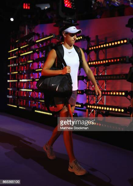 Caroline Garcia of France walks out in her singles match against Simona Halep of Romania during day 2 of the BNP Paribas WTA Finals Singapore...