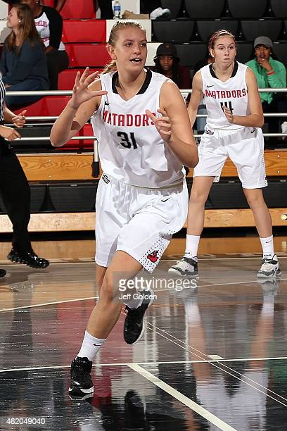 Caroline Gilling of the CSUN Matadors positions on offense against the UC Santa Barbara Gauchos in the second half at The Matadome on January 15 2015...