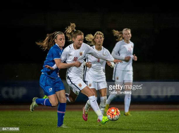 Caroline Graham Hansen Andrine Hegerberg Synne Jensen of Norway during the Women's International Friendly match between Norway and Iceland at Estadio...