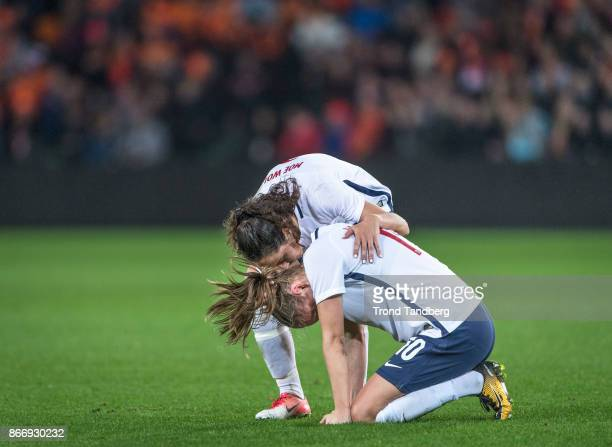 Caroline Graham Hansen Ingrid Moe Wold of Norway during the FIFA 2018 World Cup Qualifier between Netherland and Norway at Noordlease Stadion on...