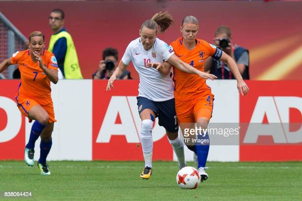 Caroline Graham Hansen of Norway and Mandy van den Berg of the Netherlands battle for the ball during their Group A match between Netherlands and...