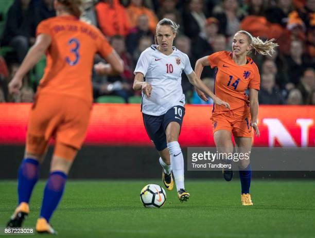 Caroline Graham Hansen of Norway Stefanie van der Gragt Jackie Groenen of Netherland during the FIFA 2018 World Cup Qualifier between Netherland and...